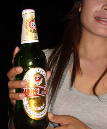 Photo of Double Deer beer promotion woman in Siem Reap